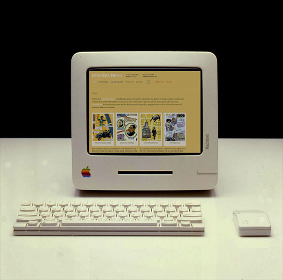Emephera Press site on prototype Apple computer