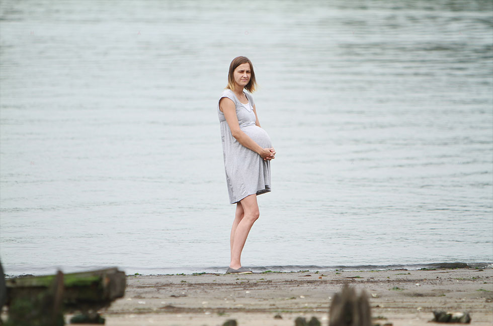 Eliza Wyka with child by the water